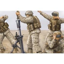 Trumpeter 1/35e Set de 4 figurines équipe de mortier M252 USMC- Irak 2009.