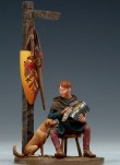 Andrea miniatures,54mm.Figurine d'Ecuyer et son Chien.XIIIe.