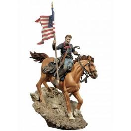 Figurine de La cavalerie Américaine avec  drapeau, 1876 . Andrea Miniatures