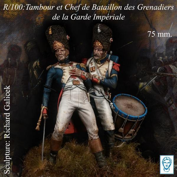 Figurines Tambour et Chef de Bataillon des Grenadiers 75mm Alexandros Models.