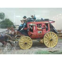 Andrea miniatures,figuren 54mm. Wild West-Postkutsche im Galopp,1880.