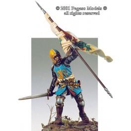 54mm figure kits.Pegaso models.Italian knight  with flag 1340-50.