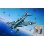 """Trumpeter 1/32e DOUGLAS SBD-3/4 - A-24A """"DAUNTLESS"""" 1941/1942 + PILOTE ET MITRAILLEUR US NAVY. Maquette d'avion de guerre."""