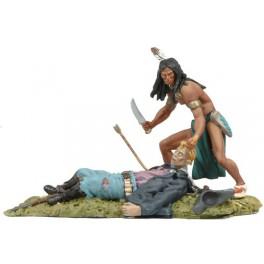 Andrea Miniatures 54mm Toy soldier ,Guerrier Sioux et cavalier US.