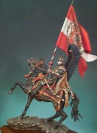 Andrea miniatures 54mm.Figurine de Hussard Polonais,1670 à monter et à peindre en métal blanc.