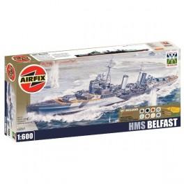 Airfix 1/600e HMS BELFAST BOXED GIFT SET. Maquette de bateau.
