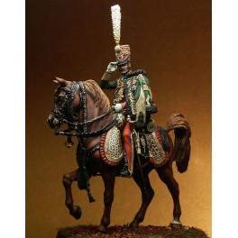 Figurine Pegaso 75mm de colonel du 7ème hussard en 1813.