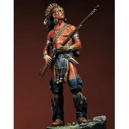 Figurine Pegaso 90mm métal, guerrier Delaware au XVIIIe siècle, à monter et à peindre.