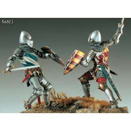 54mm Figurine Pegaso. Najera, chevaliers au combat 1367.