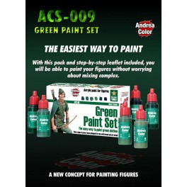 Andrea miniatures.Green Paint Set.