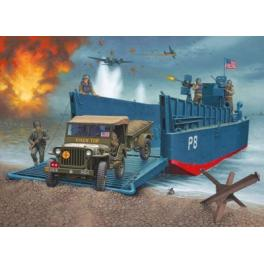 BARGE US LCM 3 + JEEP + REMORQUE + PERSONNAGES Figurines 1/35e Revell.