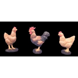 Andrea miniatures,54mm.Hens and Rooster.
