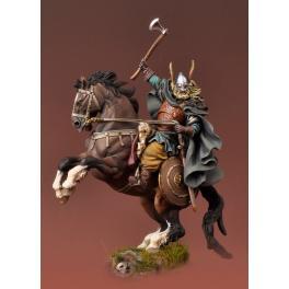 Andrea Miniatures 54mm.Figurine de Guerrier Viking à cheval.