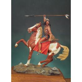 Figurine de Crasy Horse, chef Indien à cheval,1876. Andrea miniatures,90mm.