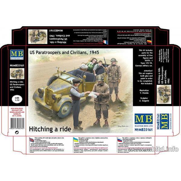 Figurines 1/35e.Parachutistes US et Civils Français  Master box.