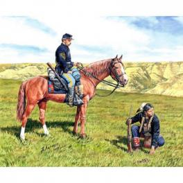 US CAVALRY & SCOUT INDIEN (2 cavaliers) 1864 1/35e Figurine Master Box.