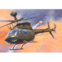"""Maquette du BELL OH-58D """"KIOWA""""hélicoptère US au 1/72ème Revell."""