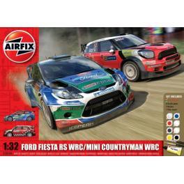Maquettes de voitures de Rallyes au 1/32ème Airfix.  MINI COUNTRYMAN WRC + FORD FIESTA RS.