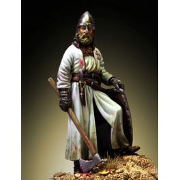Figure of Template Warrior with axe - XIII Century 54mm Romeo Models.