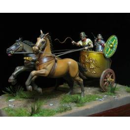 Andrea miniatures,figuren 54mm.2-spänniger Streitwagen mit 2 Legionären im Kampf.