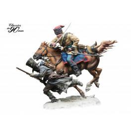Attaque cosaque en 1812, figurines 90mm Andrea Miniatures.