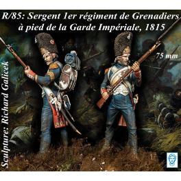 Figurine de Sergent 1er Rgt. Grenadiers à pied de la Garde Impériale 75mm.