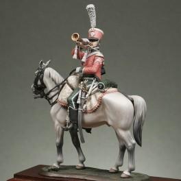 Metal Modeles 54mm Figurine de Trompette du 7ème régiment de chasseurs à cheval.