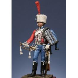 Metal Models,54mm,Figurine de Trompette du 1er régiment de hussard 1806, compagnie d'élite.