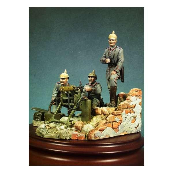 Andrea miniatures,54mm.Machine gun team WW I figure kits.