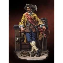 Figurine de corsair Andrea Miniatures 54mm Pirate des caraïbes  Capitaine William Kidd 1689.