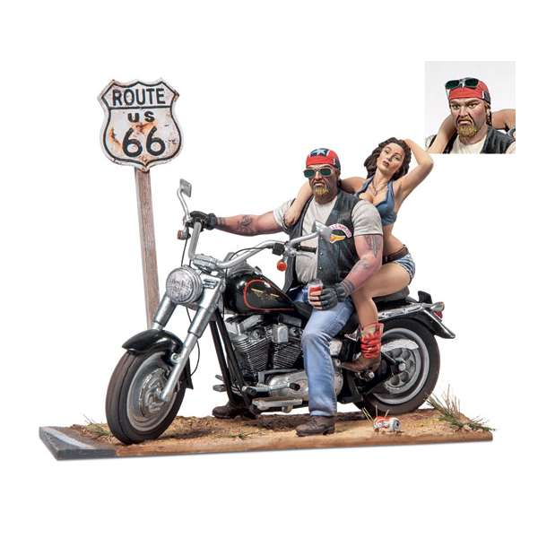 Harley Davidson Route 66.Figurines Andrea Miniatures 54mm.