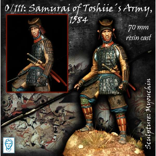 Figurine de samouraï de l'armée de Toshiie 1584 Alexandros Models 70mm.