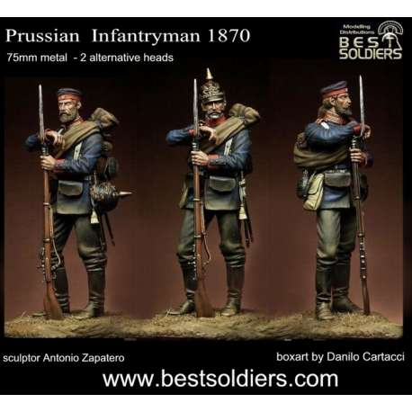 Figurine d'infanterie Prussienne en 1870 Bestsoldiers 75mm.