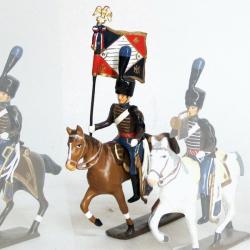 Figurine d'étendard de la compagnie d'élite du 2e hussards (1808)