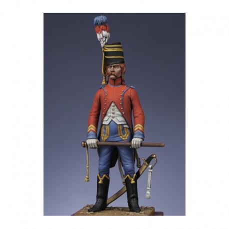 Figurine de Brigadier - trompette du 9ème hussards - Révolution Métal Modeles.