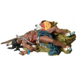 Figurine d'indien Andrea Miniatures 54mm Toy soldier ,Sioux mort couché sur le sol.