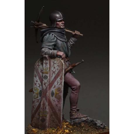 Figurine 75mm d'arbaletrier en résine du XVeme siècle.
