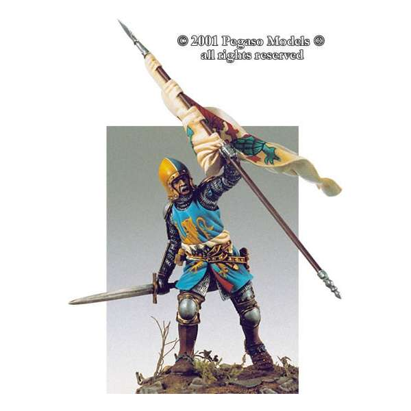 54mm figure kits.Pegaso models.Italian knight  with flag 1340-50.