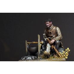 Figurine de guerrier du XVeme siècle en 75mm résine Tartar Miniatures.