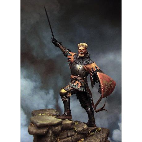 Figurine de chevalier au XIVeme siècle 75mm résine.