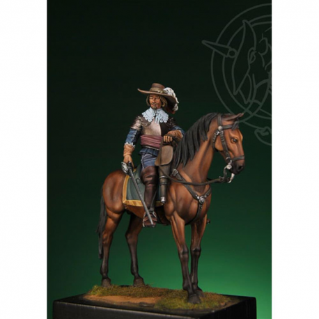 Figurine d'officier de cavalerie guerre de 30 ans, 54mm Romeo Models.