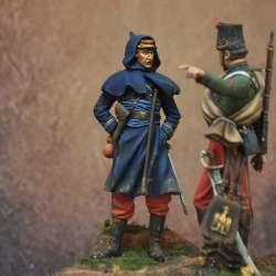 Figurine d'officier d'infanterie de ligne en 1870 Art Girona 75mm.