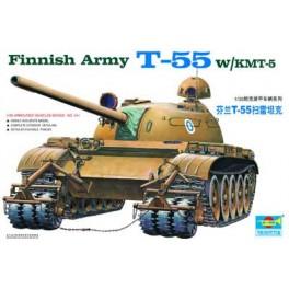 Trumpeter 1/35e Char moyen T-55 Finlandais avec systeme anti-mines W/KMT-5.