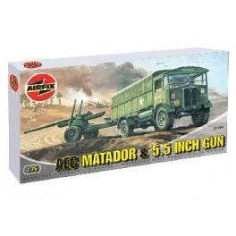 CAMION AVEC MATADOR & CANON de 5.5 Inch BRITANNIQUE. Maquette militaire. Airfix 1/76e