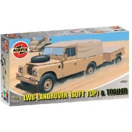 Airfix 1/72e LWB LANDROVER (SOFT TOP) + REMORQUE. Maquette de véhicule militaire.