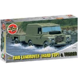 LWB LAND-ROVER (HARD TOP) + REMORQUE . Maquette de véhicule militaire. Airfix 1/72e