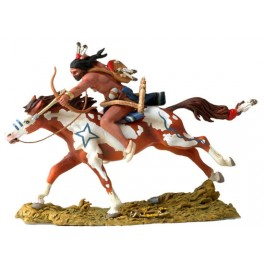Figurine Black Hawk,Andrea Miniatures 54mm Toy soldier ,Guerrier Sioux à cheval.