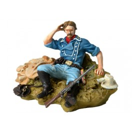 Figurine de collection Andrea  54mm Toy soldier ,Capitaine tom Custer assis sur le sol.