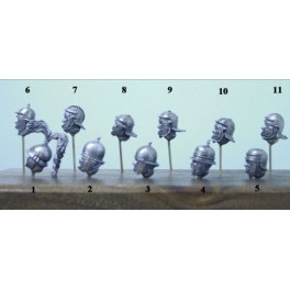 Soldiers 54mm.11 Roman Heads.